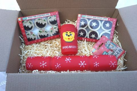 DOG CHRISTMAS GIFT HAMPER SQUEAKY CRACKER & BEER CHEWY MINCE PIES & XMAS PUDS